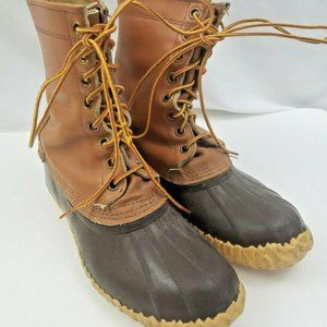 Sorel Duck Boots Brown Leather Rubber Lace-Up